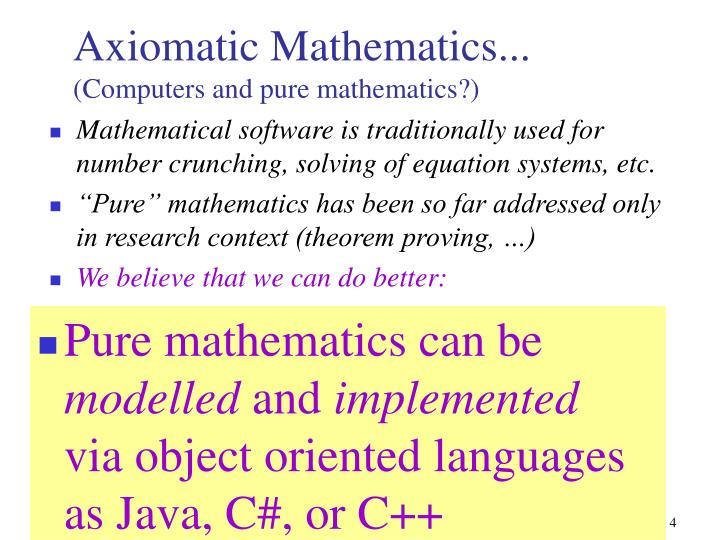 Mathematical software is traditionally used for number crunching, solving of equation systems, etc.