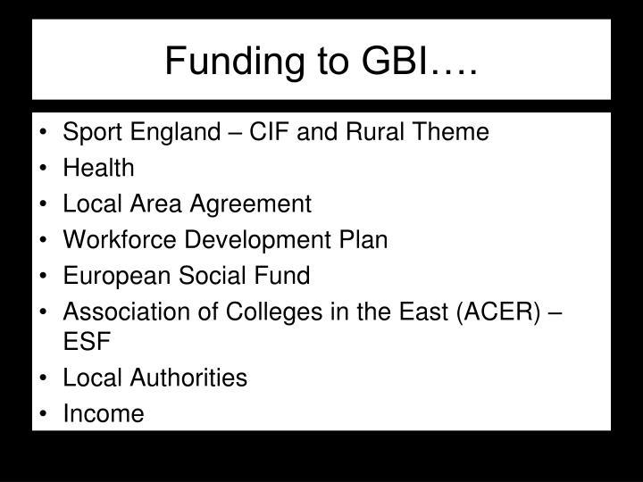 Funding to GBI….