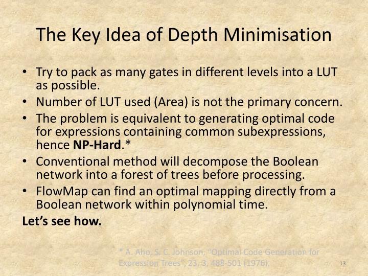 The Key Idea of Depth Minimisation