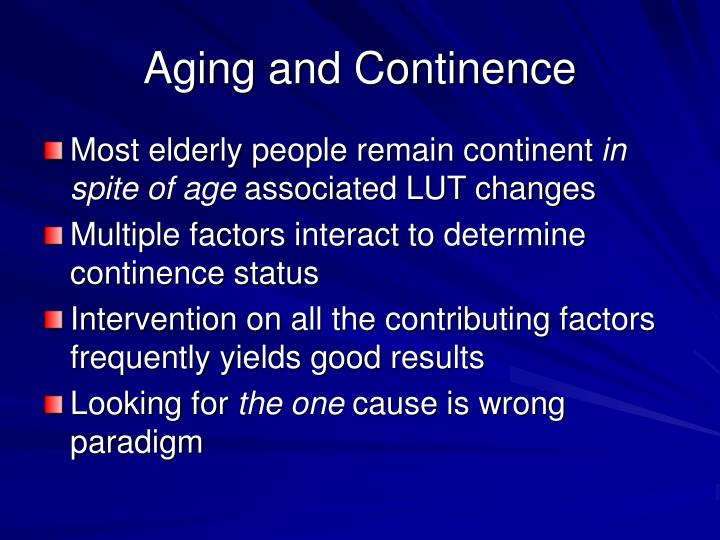 Aging and Continence