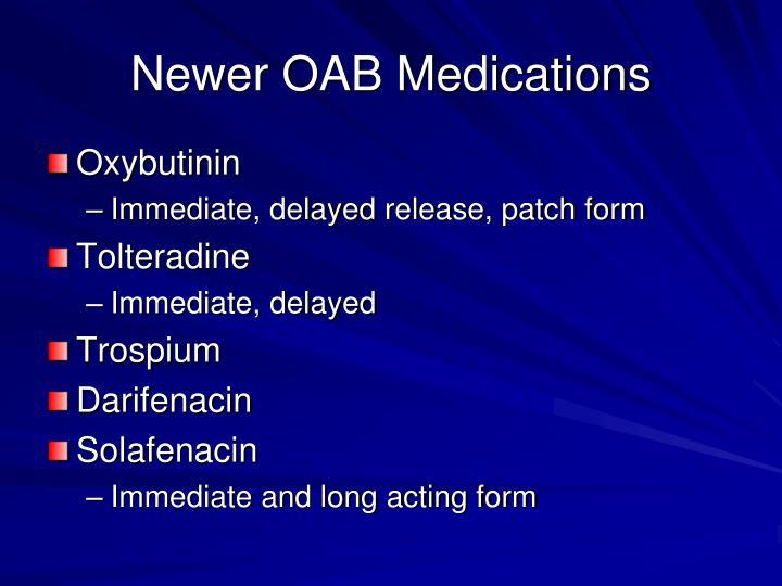 Newer OAB Medications