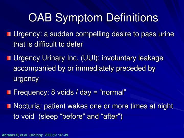 OAB Symptom Definitions