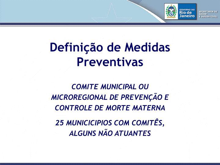 Definição de Medidas Preventivas