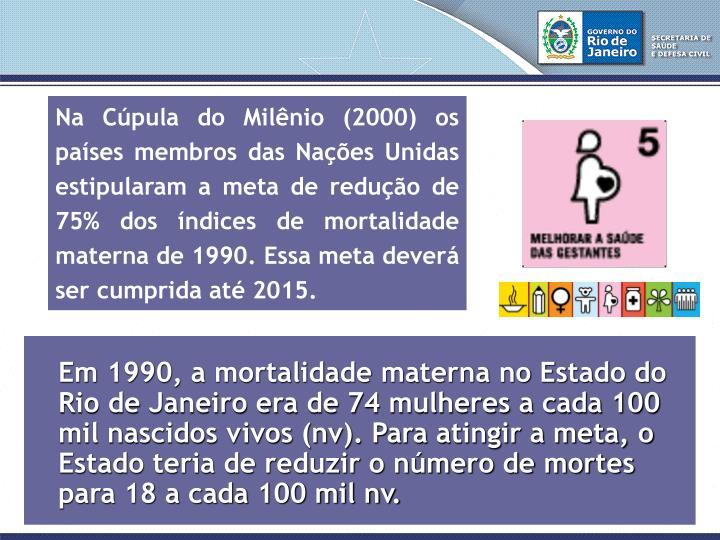 Na Cúpula do Milênio (2000) os países membros das Nações Unidas estipularam a meta de redução de 75% dos índices de mortalidade materna de 1990. Essa meta deverá ser cumprida até 2015.