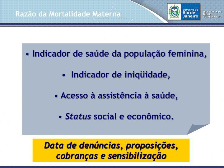 Indicador de saúde da população feminina,