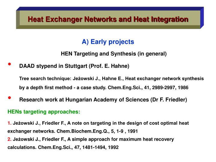 Heat Exchanger Networks and Heat Integration