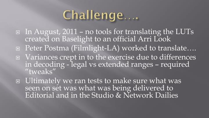 Challenge….