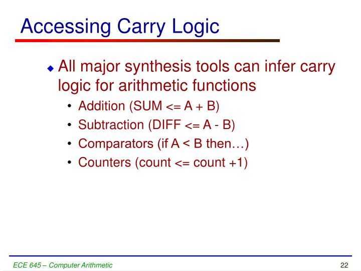 Accessing Carry Logic