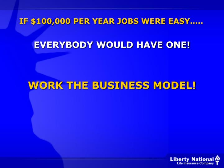IF $100,000 PER YEAR JOBS WERE EASY…..
