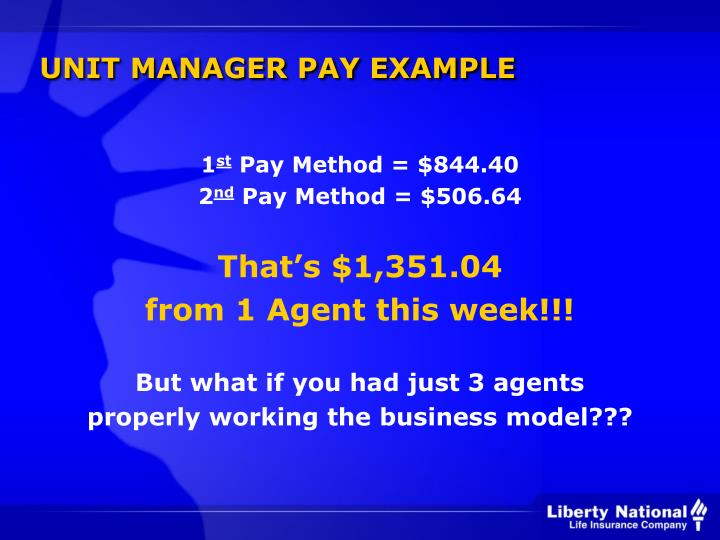 UNIT MANAGER PAY EXAMPLE