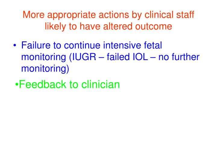 More appropriate actions by clinical staff likely to have altered outcome