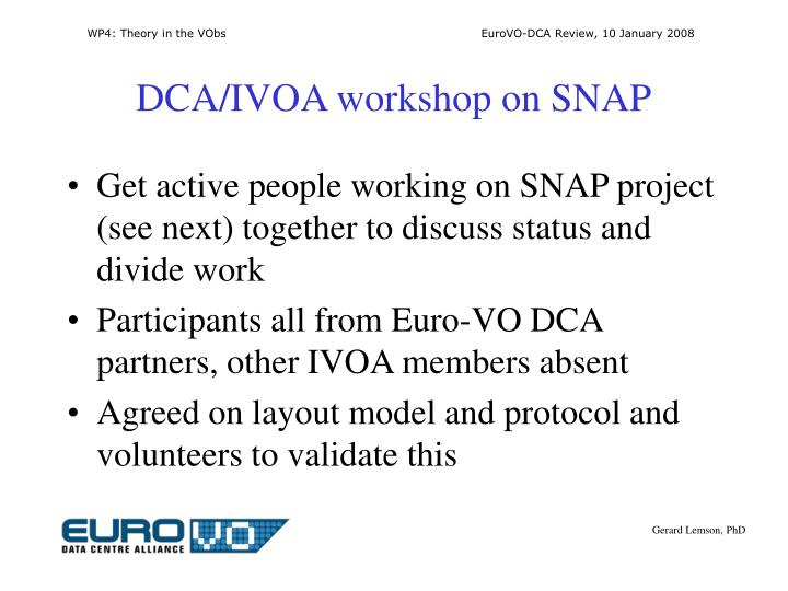 DCA/IVOA workshop on SNAP