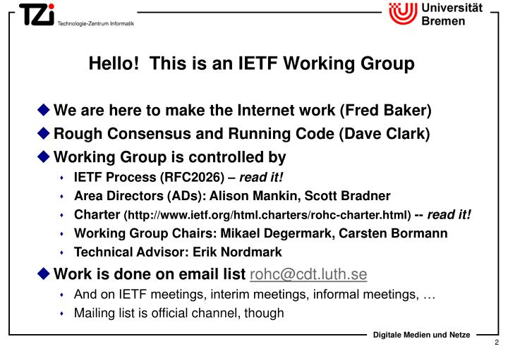 Hello this is an ietf working group