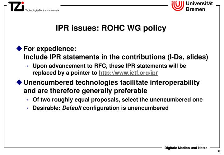 IPR issues: ROHC WG policy