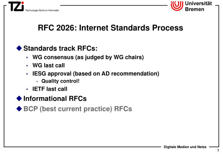Rfc 2026 internet standards process