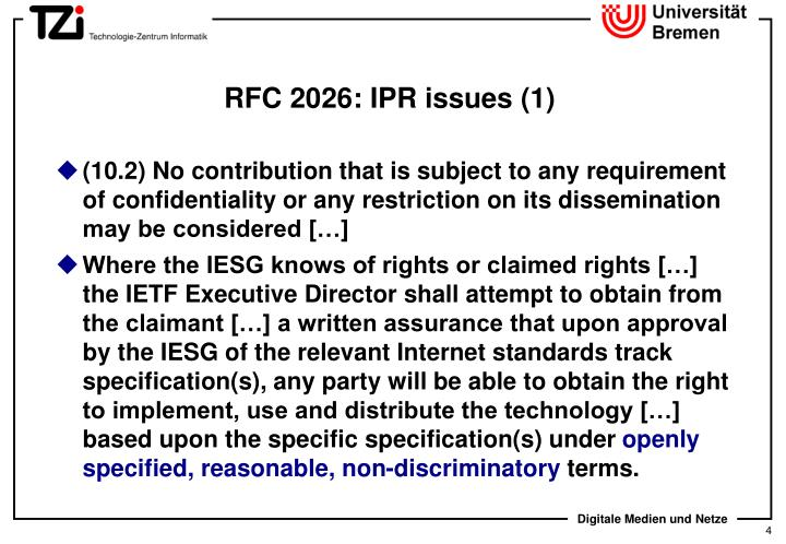 RFC 2026: IPR issues (1)