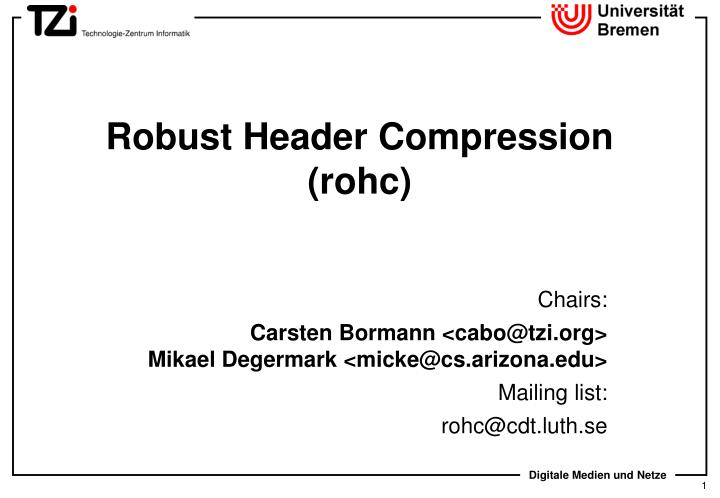 Robust header compression rohc