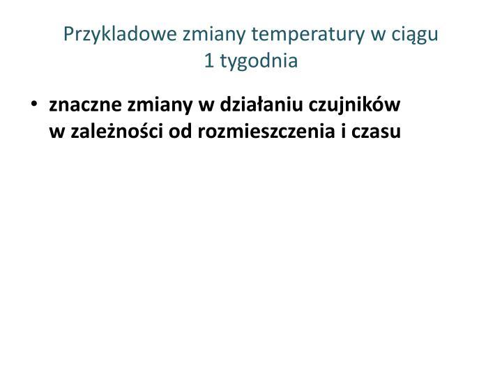 Przykladowe zmiany temperatury w ciągu               1 tygodnia