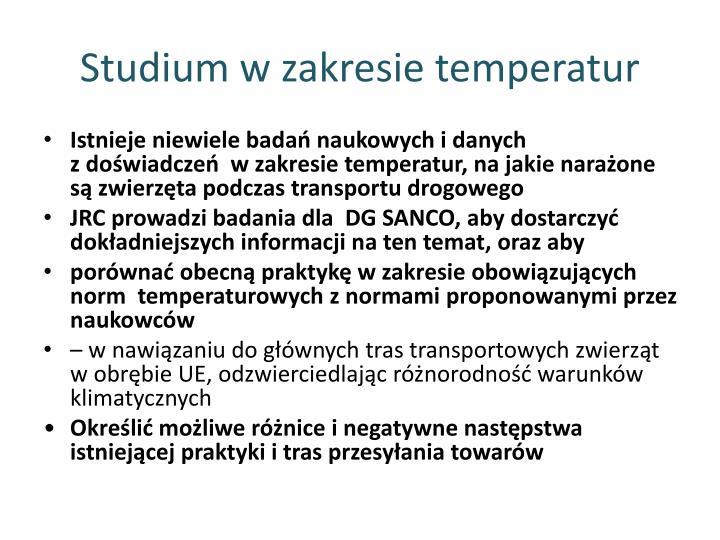 Studium w zakresie temperatur