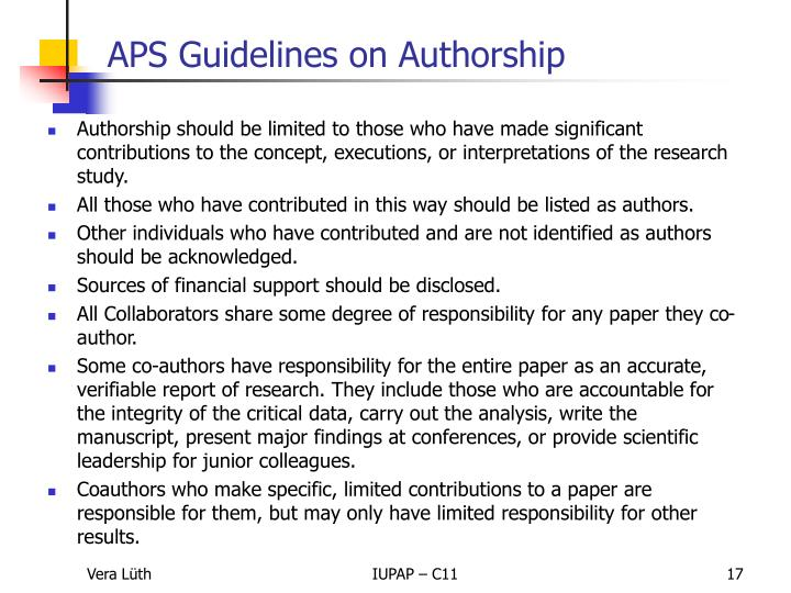Authorship should be limited to those who have made significant contributions to the concept, executions, or interpretations of the research study.