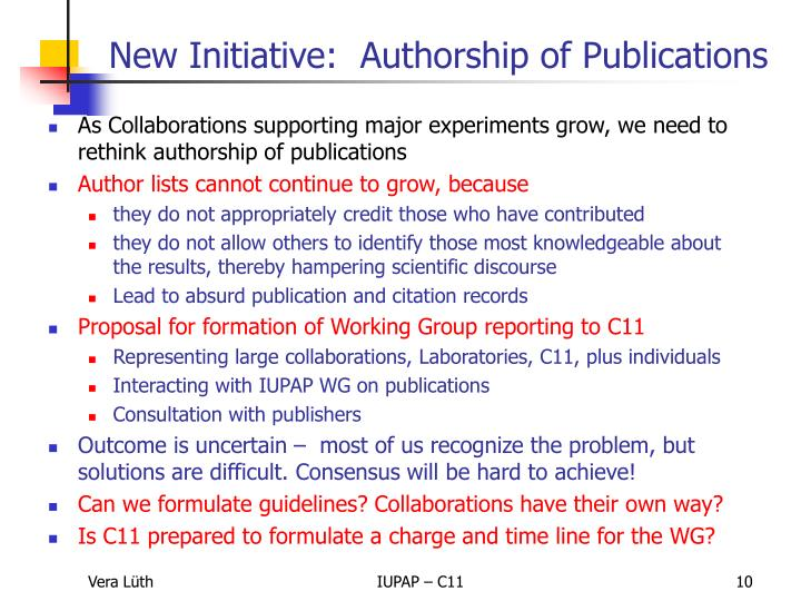 As Collaborations supporting major experiments grow, we need to rethink authorship of publications