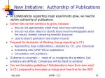new initiative authorship of publications