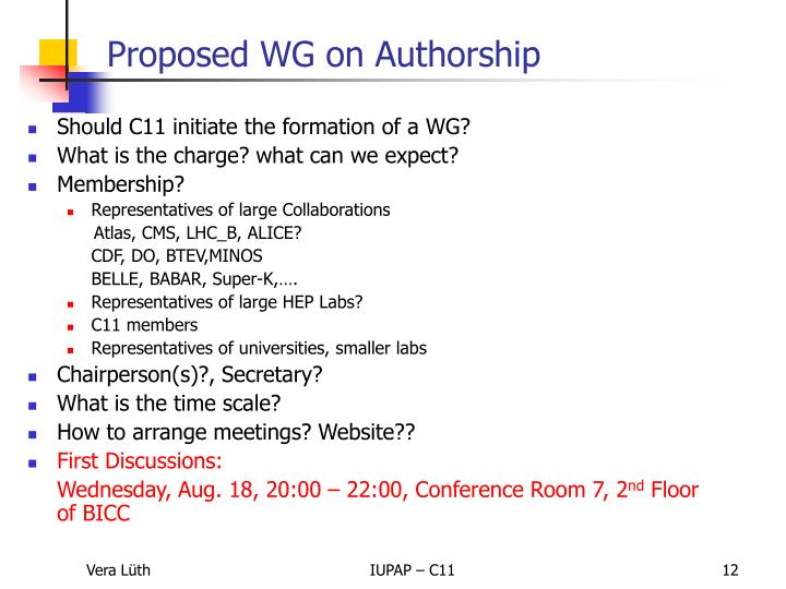 Should C11 initiate the formation of a WG?