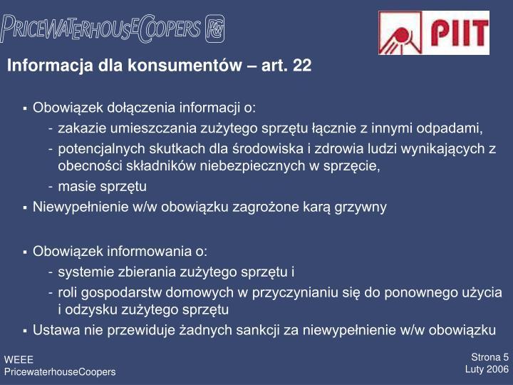 Informacja dla konsumentów – art. 22
