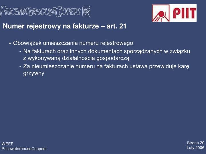 Numer rejestrowy na fakturze  art. 21