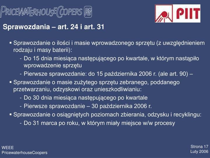Sprawozdania – art. 24 i art. 31