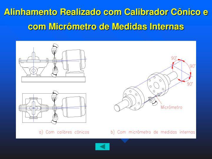 Alinhamento Realizado com Calibrador Cônico e com Micrômetro de Medidas Internas