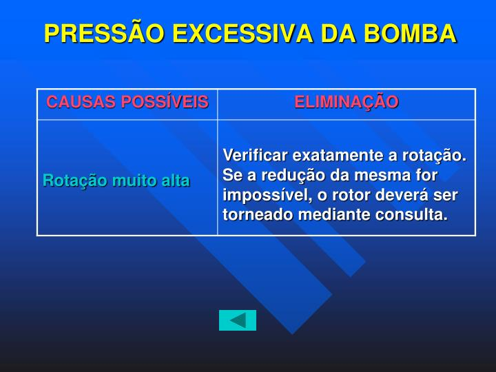 PRESSÃO EXCESSIVA DA BOMBA