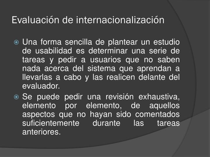 Evaluación de internacionalización