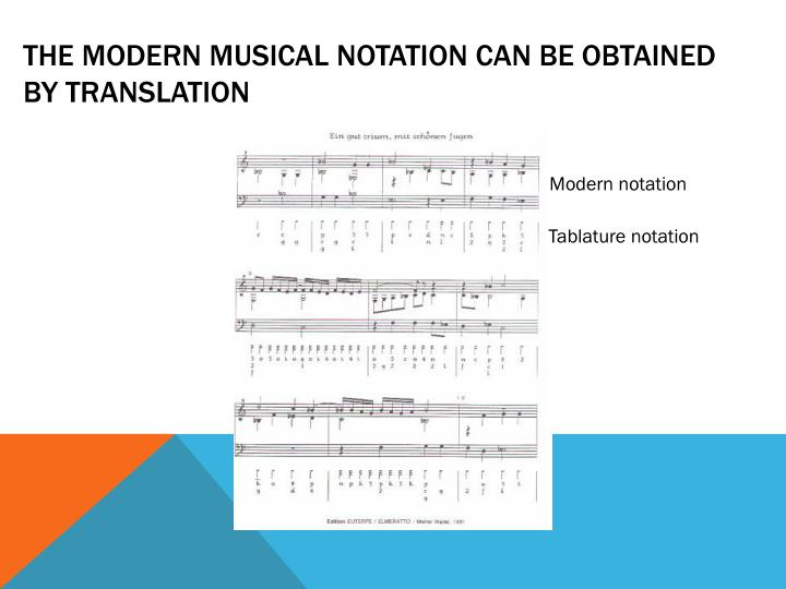 THE MODERN MUSICAL NOTATION CAN BE OBTAINED BY TRANSLATION