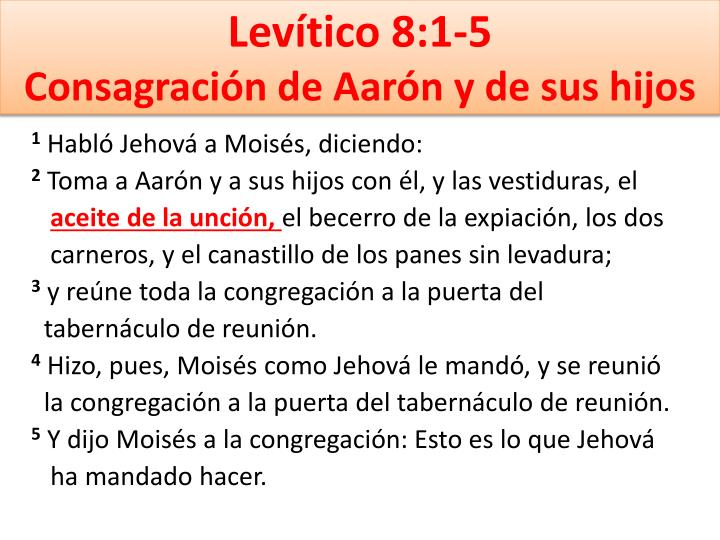 Levítico 8:1-5