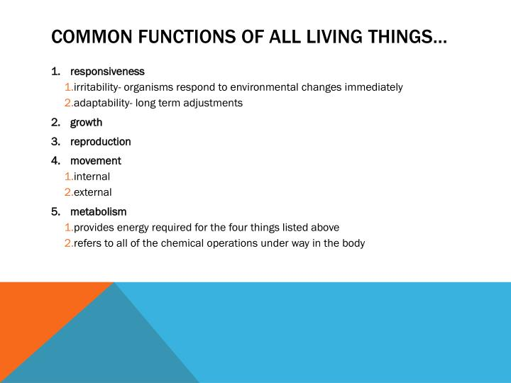 Common functions of all living things