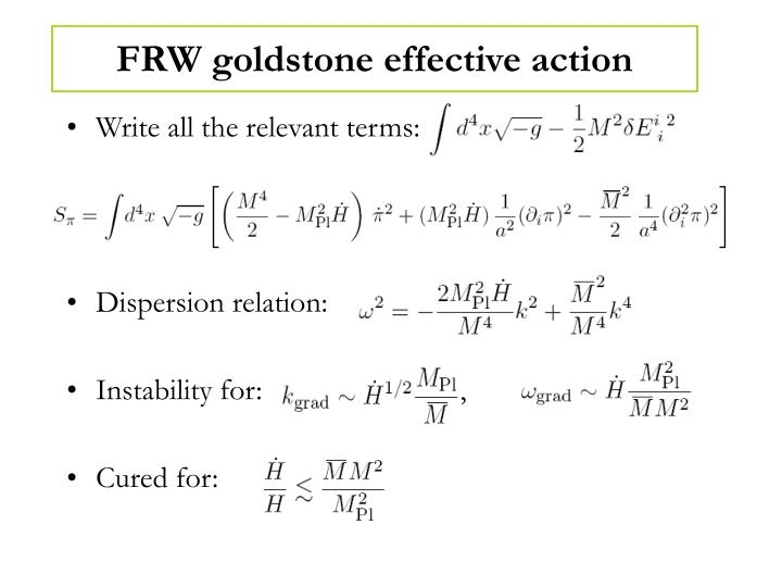 FRW goldstone effective action