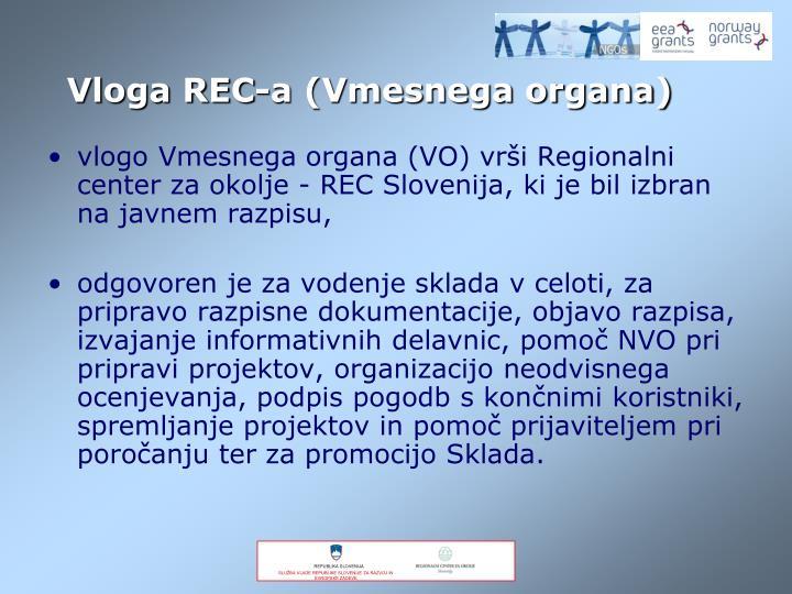 vlogo Vmesnega organa (VO) vrši Regionalni center za okolje - REC Slovenija, ki je bil izbran na javnem razpisu,