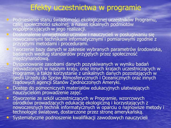 Efekty uczestnictwa w programie