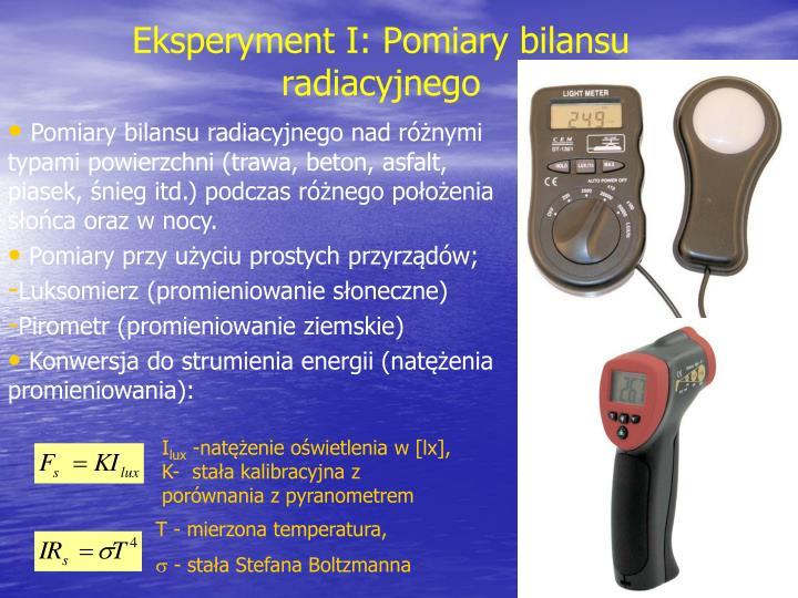 Eksperyment I: Pomiary bilansu radiacyjnego