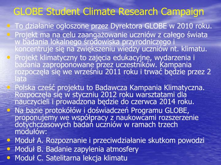 GLOBE Student Climate Research Campaign