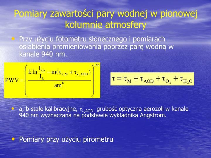 Pomiary zawartości pary wodnej w pionowej kolumnie atmosfery