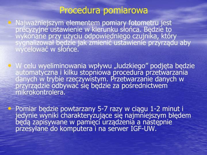 Procedura pomiarowa