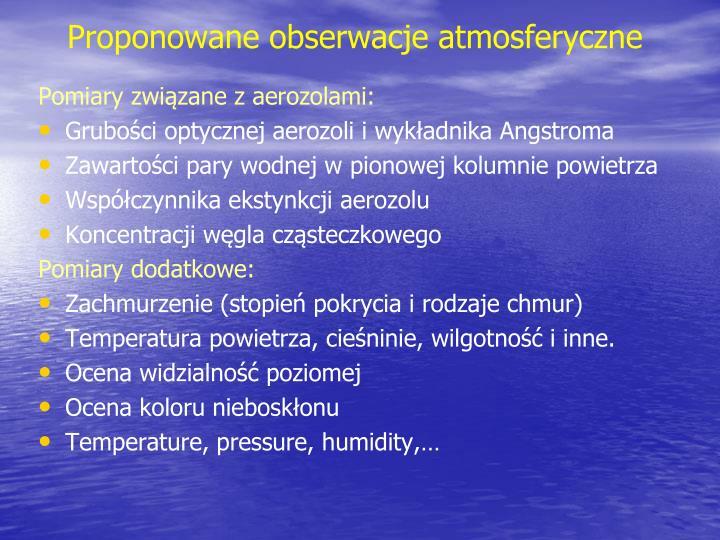 Proponowane obserwacje atmosferyczne