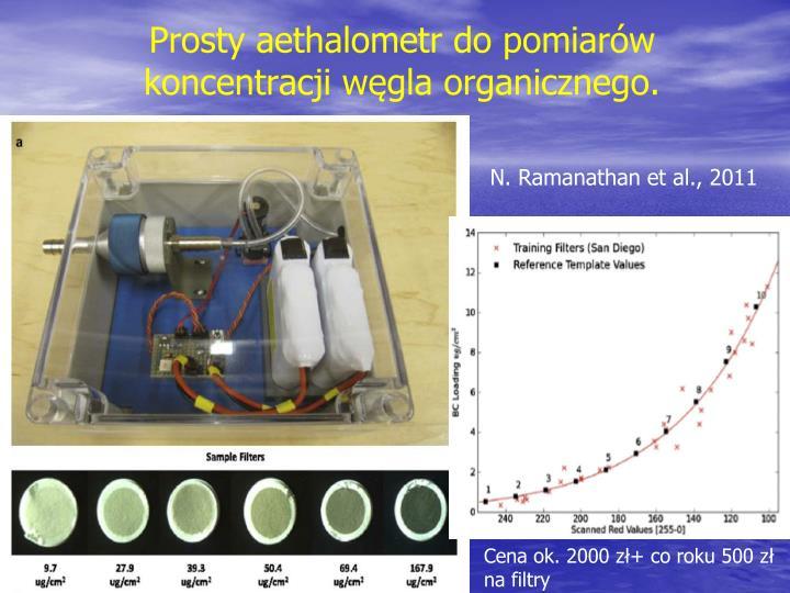 Prosty aethalometr do pomiarów koncentracji węgla organicznego.