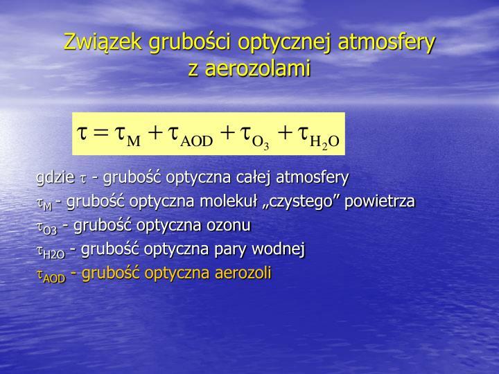 Związek grubości optycznej atmosfery