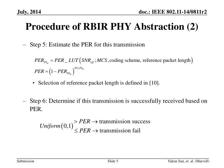 Procedure of RBIR PHY Abstraction (2)