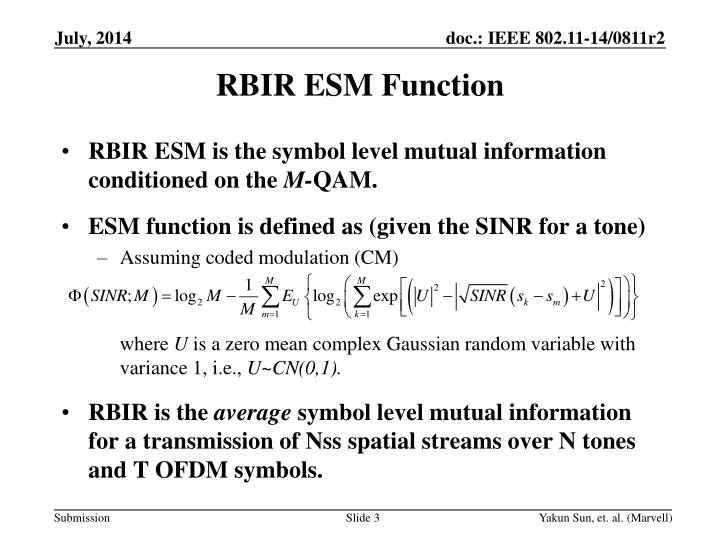 RBIR ESM Function