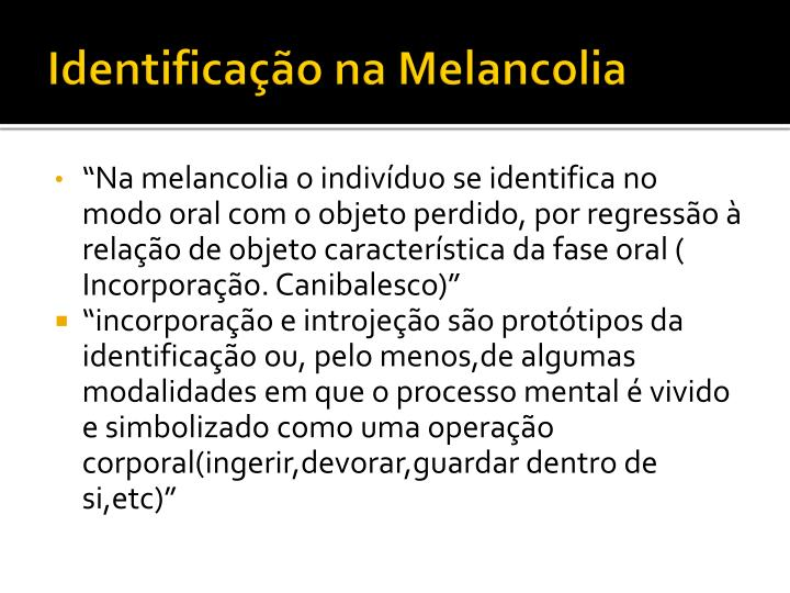 Identificação na Melancolia