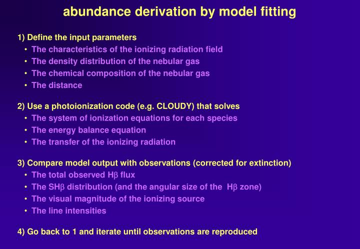 abundance derivation by model fitting